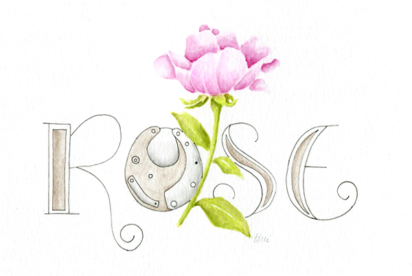Steampunk Rose with Hand Drawn Lettering