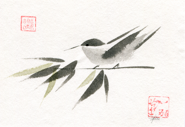 Bamboo Birds with Joy mood seal