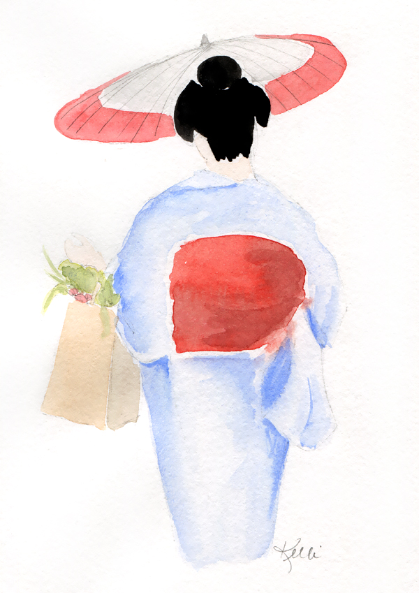 Girl in Blue Kimono with Red Parasol - May Updates