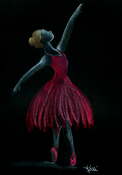 Ballerina on Black Paper